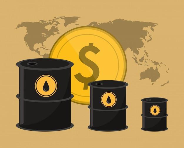 석유 관련 아이콘 이미지와 오일 배럴