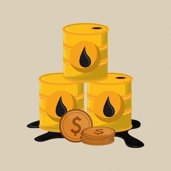 석유 관련 아이콘 이미지와 오일 배럴 프리미엄 벡터