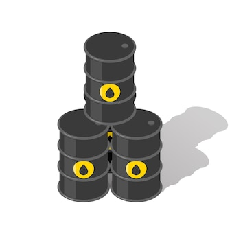 Oil barrels. fuel industry, pyramid and gasoline, energy petrol, tank metal