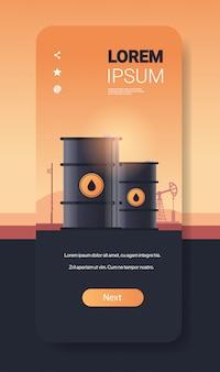 Oil barrels petroleum production trade oil industry concept pump jack industrial equipment drilling rig background smartphone screen mobile app vertical copy space