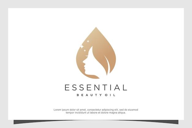 Oil beauty logo design abstract modern style premium vector