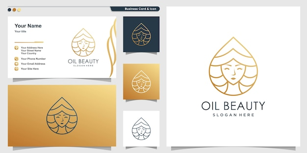 Oil beauty logo set