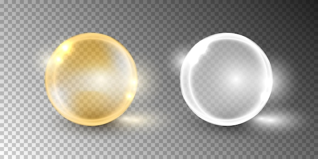Oil bubble, vitamin capsule isolated on transparent background.