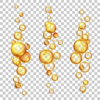 기름 거품. 케라틴, 호호바 또는 콜라겐이 함유된 금 화장품 액체. 천연 비타민 알약 에센스. 현실적인 3d 비행 방울 벡터 세트입니다. 올리브 또는 어유, 의약용 유제 또는 액체