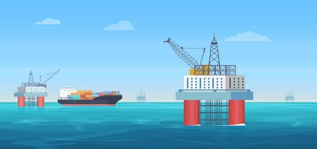 Иллюстрация платформы бурения нефтяных скважин. мультяшный плоский океан или морской пейзаж с башней буровой установки