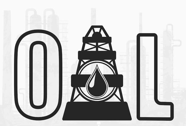 석유 시추 회사 simbol. 거대한 정유 공장이 있는 배경에 벡터 오일 레터링 및 드릴링 장비 아이콘이 있습니다.
