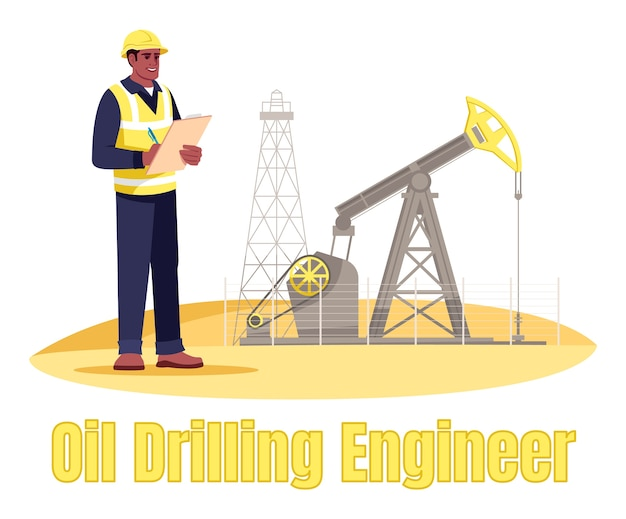 Oil drilling engineer semi  rgb color  illustration. oil rig operator. petroleum production. gas industry male worker  cartoon character on white background with typography