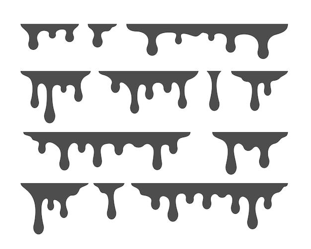 Силуэт капель масла, изолированные на белом фоне
