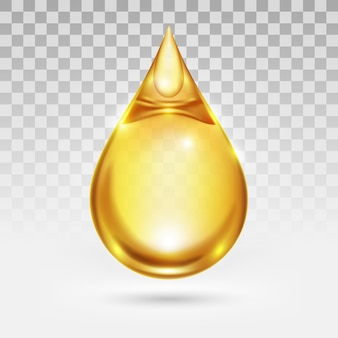 Oil drop or honey isolated on transparency white background, golden yellow transparent liquid,