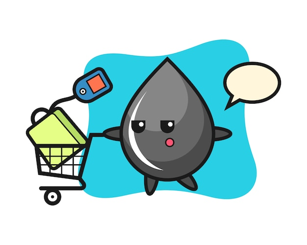 Oil drop illustration cartoon with a shopping cart