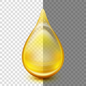 油滴は透明な背景に分離されました。コラーゲンオイルドロップエッセンス。