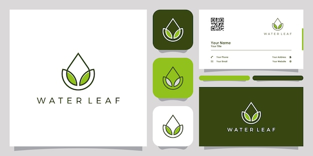 Oil drop and leaf logo with line art design and business card template