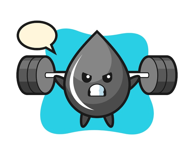 Oil drop mascot cartoon with a barbell