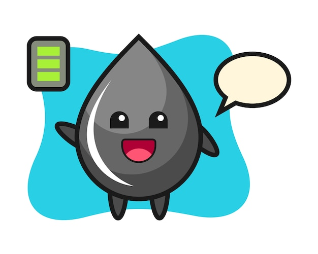Oil drop mascot character with energetic gesture