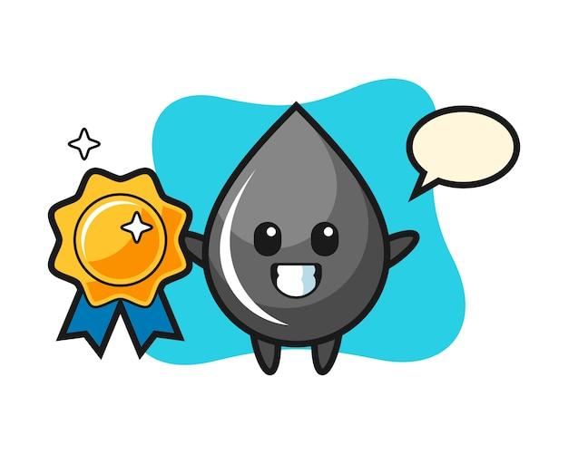 Oil drop mascot illustration holding a golden badge