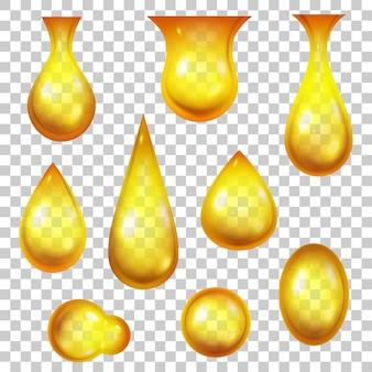 오일 드롭. 현실적인 꿀 방울과 황금 거품. 화장품이나 휘발유 제품을 위한 3d 떨어지는 노란색 물방울. 떨어지는 액체 벡터 집합입니다. 기계유, 휘발유 또는 스킨케어용 에센스