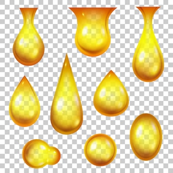 Oil drop. realistic honey drops and golden bubbles. 3d dripping yellow droplets for cosmetic or petrol products. falling liquid vector set. machine oil, gasoline or essence for skincare