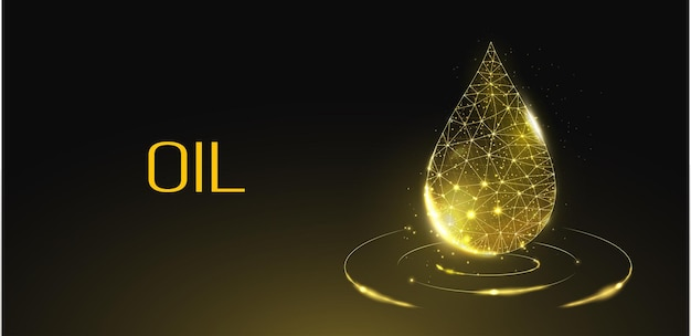 Oil droplet. low poly style design. futuristic modern abstract background. isolated on dark background.  wireframe drop light connection structure, 3d polygonal graphic concept. vector illustration.