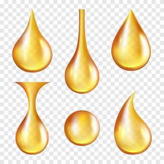 Капли масла. желтые прозрачные брызги машинного или косметического золотого масла вектор реалистичные шаблон