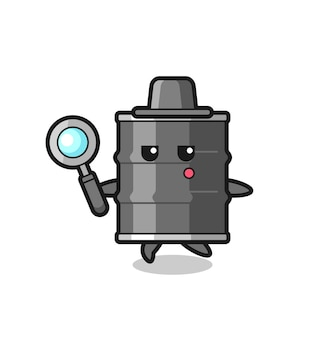 Oil drum cartoon character searching with a magnifying glass , cute design