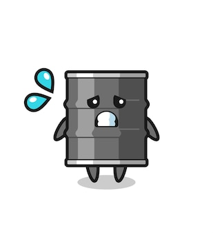 Oil drum mascot character with afraid gesture , cute design