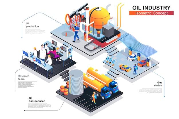 Нефтяная промышленность изометрической концепции плоской иллюстрации
