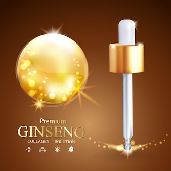 Oil extract with ginseng vector background for skincare product
