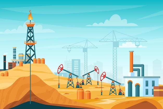 Пейзаж добычи нефти. заводская станция с бурением скважин, процессом добычи, вышкой нефтяной вышки
