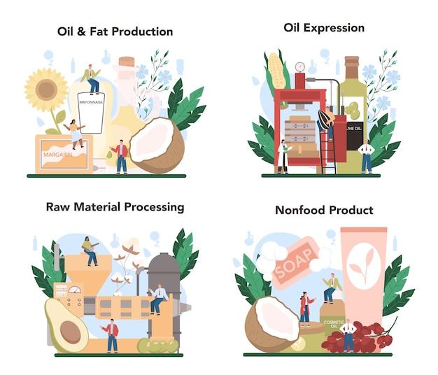 오일 추출 또는 생산 산업 세트