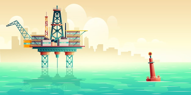 Oil extraction platform in sea cartoon illustration