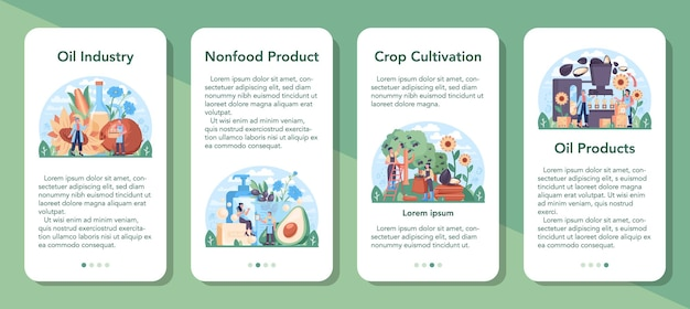 Oil extraction or production industry mobile application banner set. vegatable oil. organic vegetarian ingredient for cooking and non-edible production. vector flat illustration