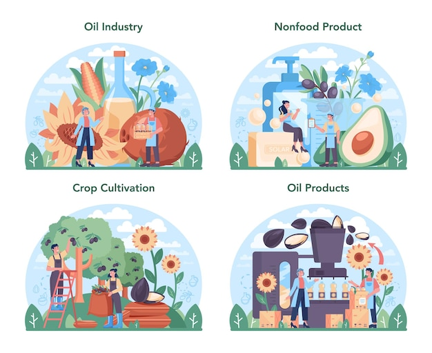 Oil extraction or production industry set. isolated vector illustration