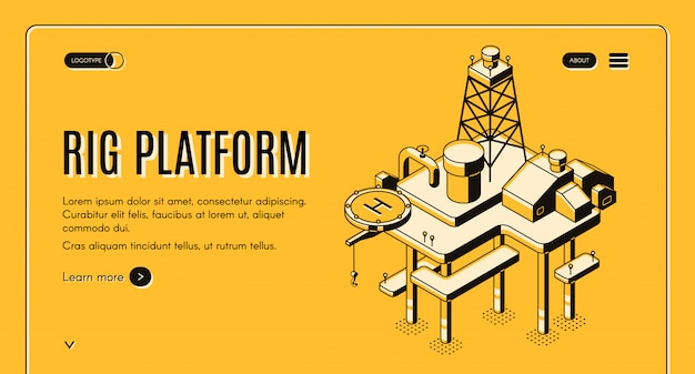 Oil extraction on sea and continental shelf web banner with offshore drilling rig