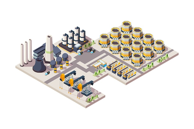 Нефтяной завод. газовое промышленное здание резервуары оборудование химических нефтеперерабатывающих заводов изометрические иллюстрации. здание маслозавода, промышленное производство завода