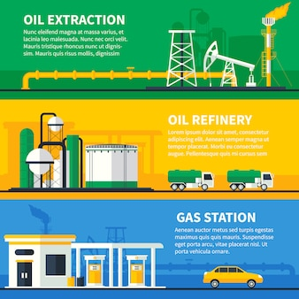 Oil gas banners set