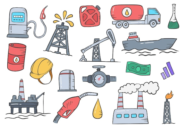 Oil and gas industry concept doodle hand drawn set collections with flat outline style