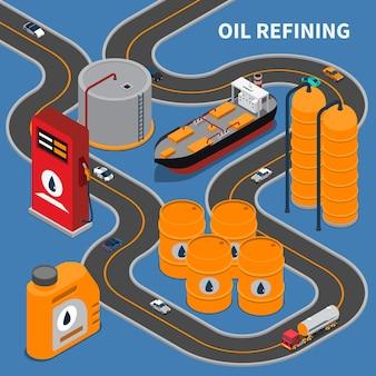 Composizione isometrica nell'industria petrolifera e del gas con l'illustrazione delle automobili della scatola metallica dell'impianto di perforazione