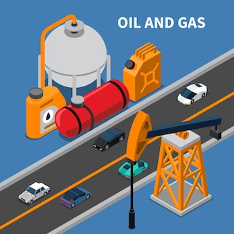 Oil and gas industry isometric composition with rig canister cars illustration
