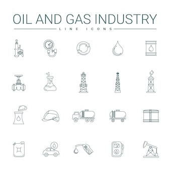 Oil and gas industry line icons