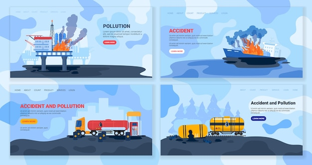 Oil gas industry pollution, eco accident vector illustration, cartoon flat ecocatastrophe collection, factory pollutes environment