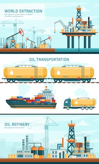 Oil gas industry technology flat vector illustrations. cartoon infographic processing petrol