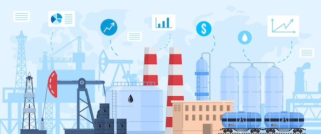 Oil gas industry vector illustration, cartoon flat industrial landscape with chemical processing oil refinery plant or factory