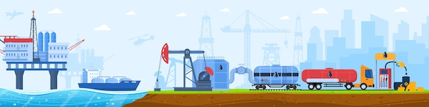 Oil gas industry vector illustration, cartoon flat industrial urban landscape with plant silhouettes, cargo truck transportation