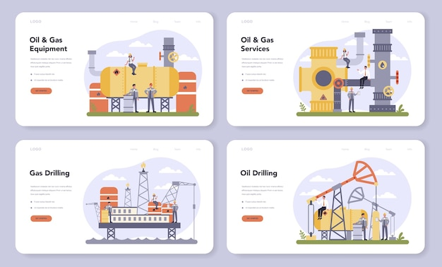 Oil and gas industry web banner or landing page set. fuel factory, barrel with diesel. industrial exploration of petroleum, diesel fuel. modern technology for exploration.