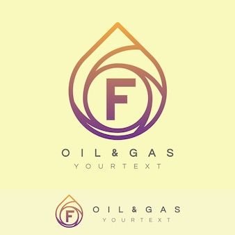 Oil and gas initial letter f logo design