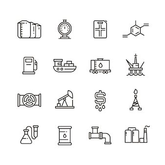 Oil and gas manufacturing and industrial equipment line icons
