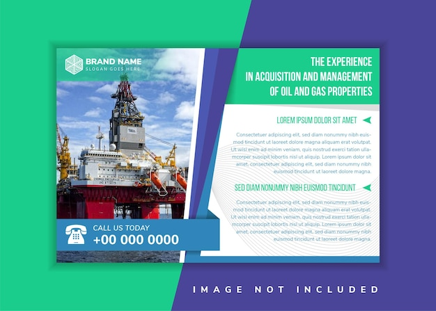 Oil and gas properties headline of flyer design template use horizontal layout white background