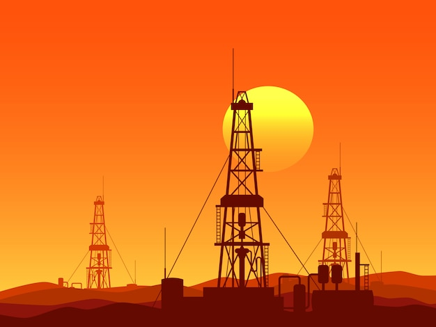 Oil and gas rigs vector illustration