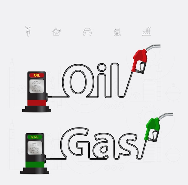 Oil and gas typographic gasoline pump nozzle creative design