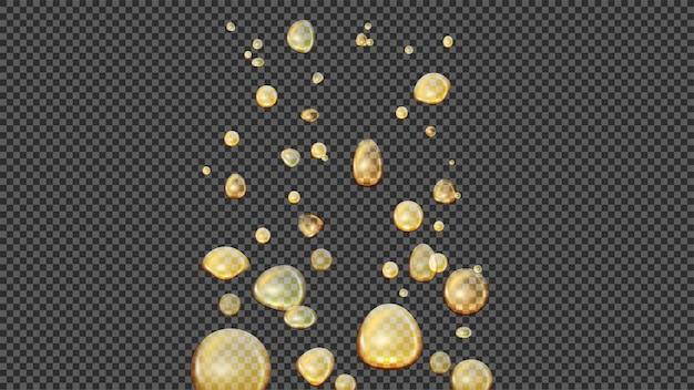オイルゴールドの泡、リアル。油滴